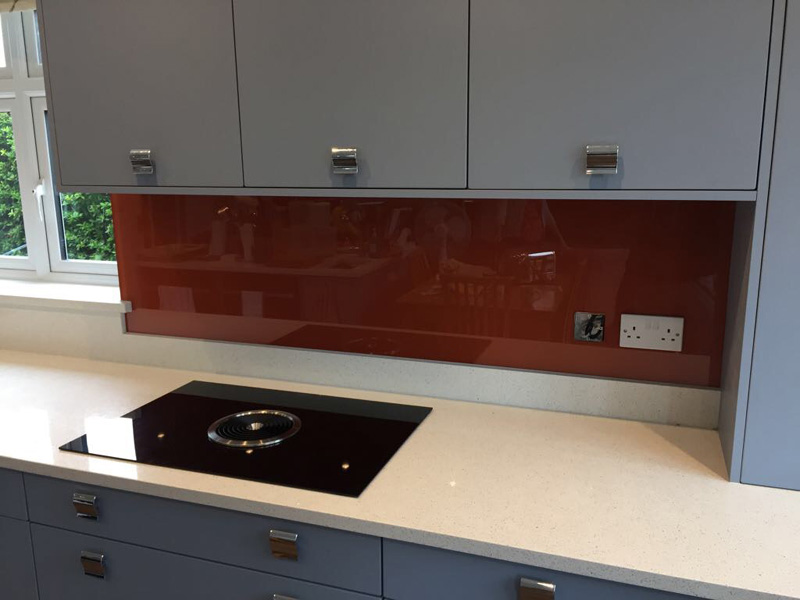 Glass splashback ral 2013 pearl orange buntingford