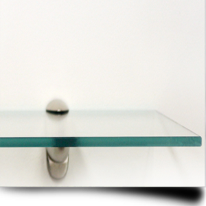 An example of a toughened glass shelf in use in a home office
