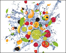 A mouth watering printed glass kitchen splashback made up of summer fruits to whet anyones appetite. An artistic printed glass kitchen splashback to set off any food preparation area in your kitchen.
