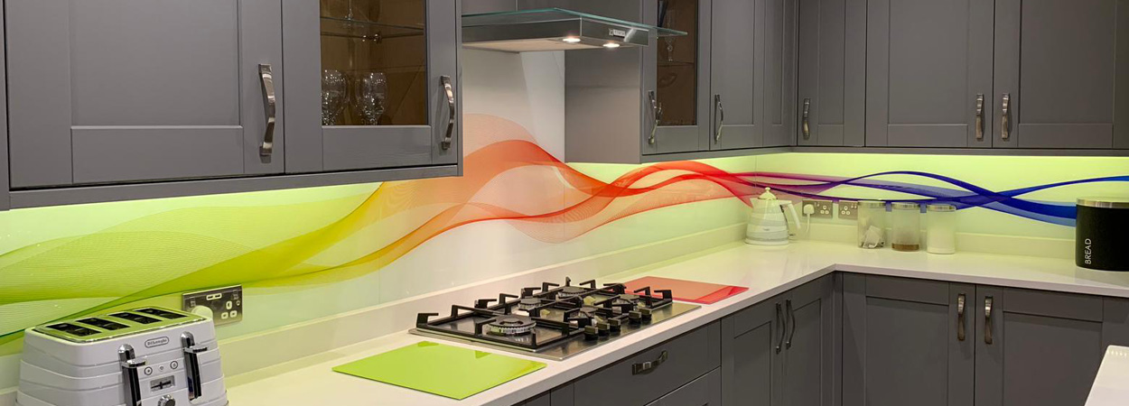 Kitchen glass splashbacks abstract waves from splashbacks of distinction