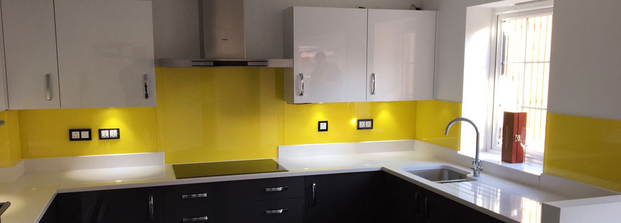 Kitchen glass splashbacks yellow from splashbacks of distinction
