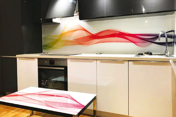 Abstract waves printed kitchen splashbacks