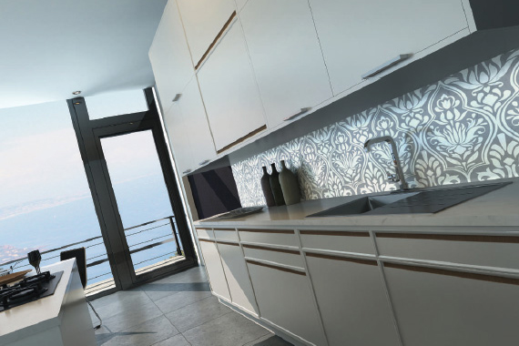 Black and white printed kitchen splashbacks