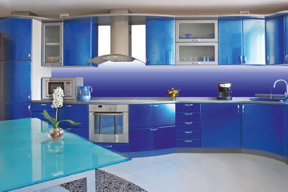 Colour gradient printed kitchen splashbacks
