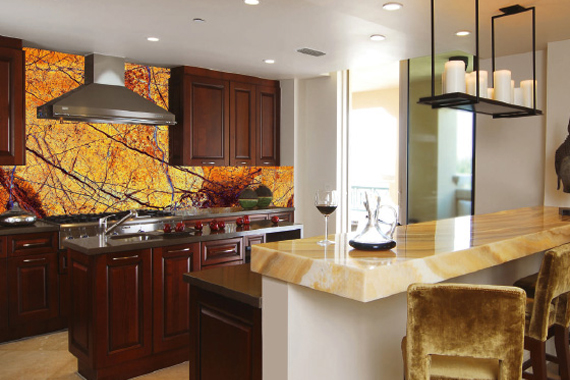 Gold printed kitchen splashbacks