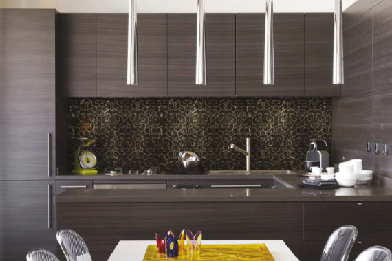 Leather printed kitchen splashbacks