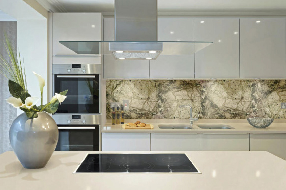 Marble and granite kitchen splashback