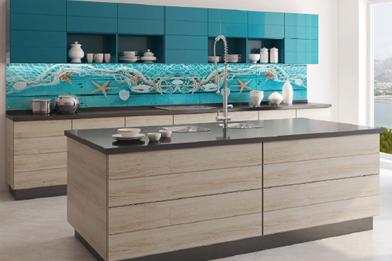 Strong colours printed kitchen splashbacks