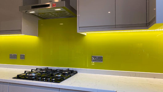 Lime green kitchen splashback