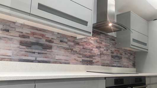 Kitchen splashback with abstract stone background