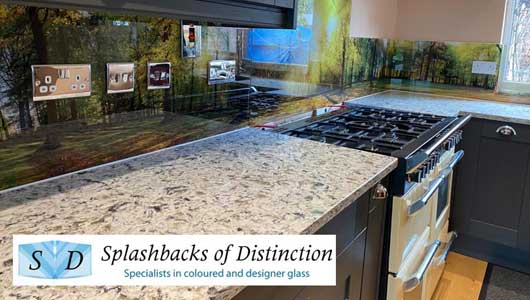Kitchen splashback with gorgeous panoramic spring scenery