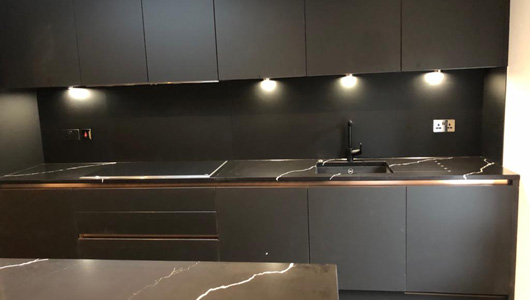 Black satin splashback